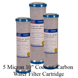 set of 3 x 10 inch Coconut Carbon Water Filter Cartridge 5 Micron